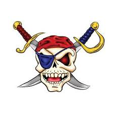 pirate skull and cross swords temporary tattoo for halloween