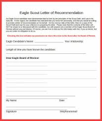 eagle scout recommendation memo example