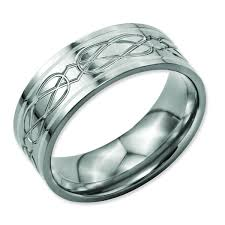 celtic mens wedding bands titanium sterling silver inlay celtic knot flat 8mm polished men s