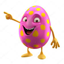 pink cartoon easter egg pointing by hand u2014 stock photo zahradnik