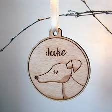 dog christmas decoration wooden personalised by hoobynoo