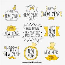 new year sticker stickers set of new year vector free