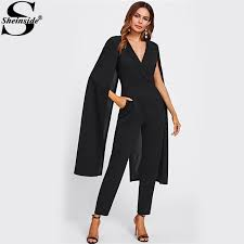 black jumpsuit womens sheinside cape sleeve surplice wrap tailored jumpsuit black v neck