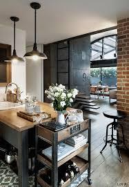 cuisine style industriel loft esprit loft avec murs de briques apparentes cuisines intérieur