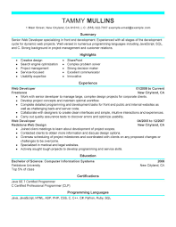 Resume Sample Using Html by Best Web Developer Resume Example Livecareer