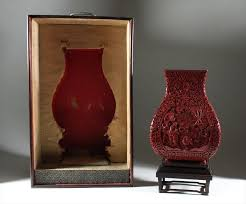 Red Lacquer Vase Igavel Auctions Chinese Carved Red Lacquer Vase Fang Hu Late