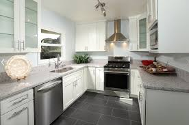 Modern Kitchen Cabinet Colors Modern Kitchen With Grey Tile Floor And White Cabinets Also White
