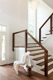indoor stair railing staircase transitional with modern walnut