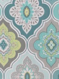 Threshold Medallion Shower Curtain by Peri Lilian Tile Medallion Aqua Grey Lime White Fabric Shower
