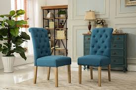 Solid Wood Dining Chairs Amazon Com Roundhill Furniture Habit Solid Wood Tufted Parsons