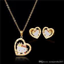 crystal heart necklace wholesale images 2018 wholesale new kids jewelry girl necklace and earrings set jpg