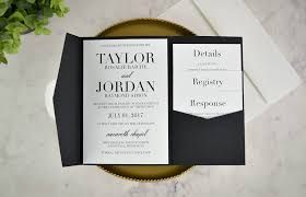 invitation pockets real diy wedding invitation classic black white pocket cards