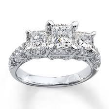 diamond stone rings images Kay 3 stone diamond ring 2 ct tw princess cut 14k white gold jpg