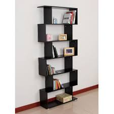 homcom wooden wood s shape storage display 6 shelves room divider
