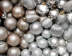 lots of silver decoration glass baubles background