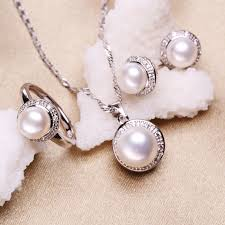 silver pearl necklace set images Fenasy 100 natural pearl set jewelry sets 925 silver pearl jpg