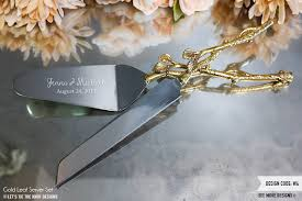 wedding cake knives and servers personalised personalized wedding gold leaf cake knife and server set