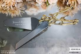 wedding gift knife set personalized wedding gold leaf cake knife and server set