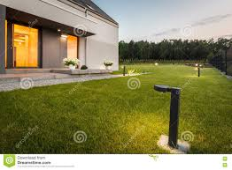 new design house with garden stock photo image 72981647