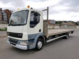 2004 daf lf45 150 5speed manual 28ft flatbed on steel spring very