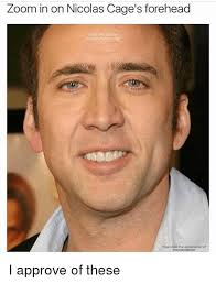 Nicolas Cage Memes - zoom in on nicolas cage s forehead i approve of these meme on me me