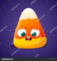 halloween purple and orange background cute halloween candy corn frightened face stock vector 716873500