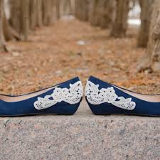wedding shoes low wedges wedding shoes navy blue wedges bridal from walkinonair on etsy