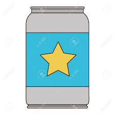 beer can cartoon beer can with star emblem in colorful silhouette with thin black