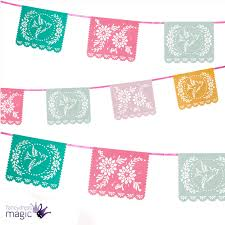 International Bunting Flags 4m Paper Floral Fiesta Papel Picado Mexican Mexicana Party Bunting