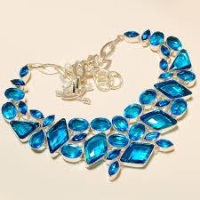 gemstone silver necklace images Wonderful huge size feceted swess blue quartz 925 silver jpg