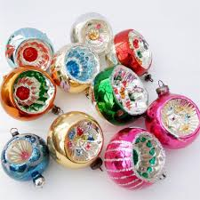 vintage glass tree baubles decorations ornaments set 10