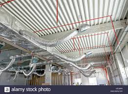 Insulated Ventilation Ducting Ventilation Pipes In Silver Insulation Material And Fire Sprinkler