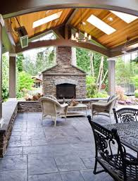 concrete patio ideas backyard scandinavian outdoor living area style comes with stacked stone
