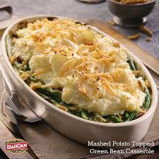 thanksgiving turkey side dishes mashed potato topped green bean casserole combine two classic