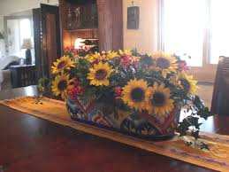 Dining Room Flower Arrangements Sunflower Flower Arrangements With Eclectic Vase For Ethnic Dining
