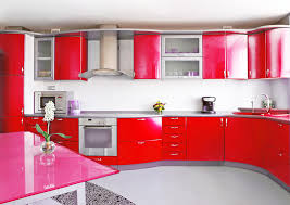 colorful kitchen design ideas with red modular cabinet and pink