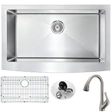 brushed nickel faucet with stainless steel sink anzzi elysian farmhouse stainless steel 32 in 0 hole kitchen sink