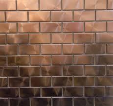 Modern Twist With  X  Copper Tiles Can You Say Bar Backsplash - Copper tile backsplash