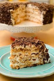 crispy almond meringue layer cake recipe vanilla whipped cream