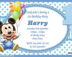 Mickey Mouse 1st Birthday Card Mickey Mouse 1st Birthday Invitations Gangcraft Net