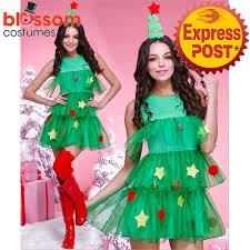 K286 Ladies Christmas Tree Santa Christmas Xmas Fancy Dress Up