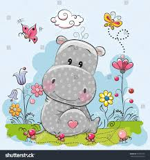 cute cartoon hippo flowers butterflies on stock vector 567609190