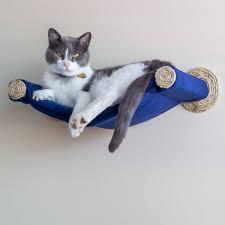 cat hammock wall mounted cat bed blue