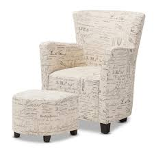 Armchair Ottoman Baxton Studio Benson French Script Patterned Fabric Club Chair And