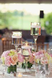 Vases With Flowers And Floating Candles Reception Décor Photos Pink And Ivory Floral Centerpieces
