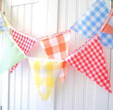 Red Blue Yellow Flag Vintage Gingham Banner Bunting Fabric Pennant Flags Yellow Red