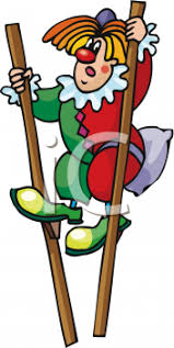 clown stilts dressed as a clown walking on stilts royalty free clip