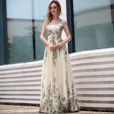 a line boho wedding dress with floral accent sang maestro