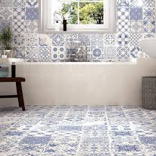 Moroccan Tile Bathroom Tangier Blue Patterned Tiles Porcelain Superstore Tiles