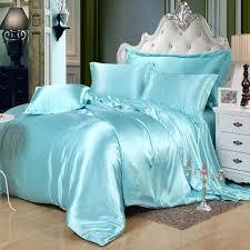 Plain Duvet Cover Silk Plain Solid Skyblue Soft Feel Satin Duvet Cover Set Luxury